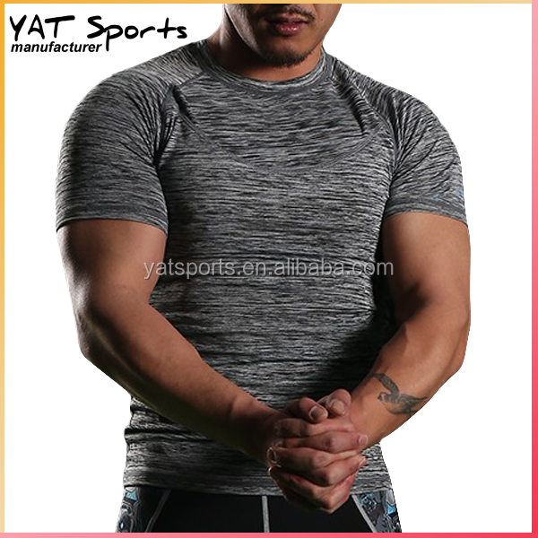 (Trade Assurance) Moisture Wicking warp knitted cationic dye grey fabric OEM bodybuilding muscle fit t-shirts