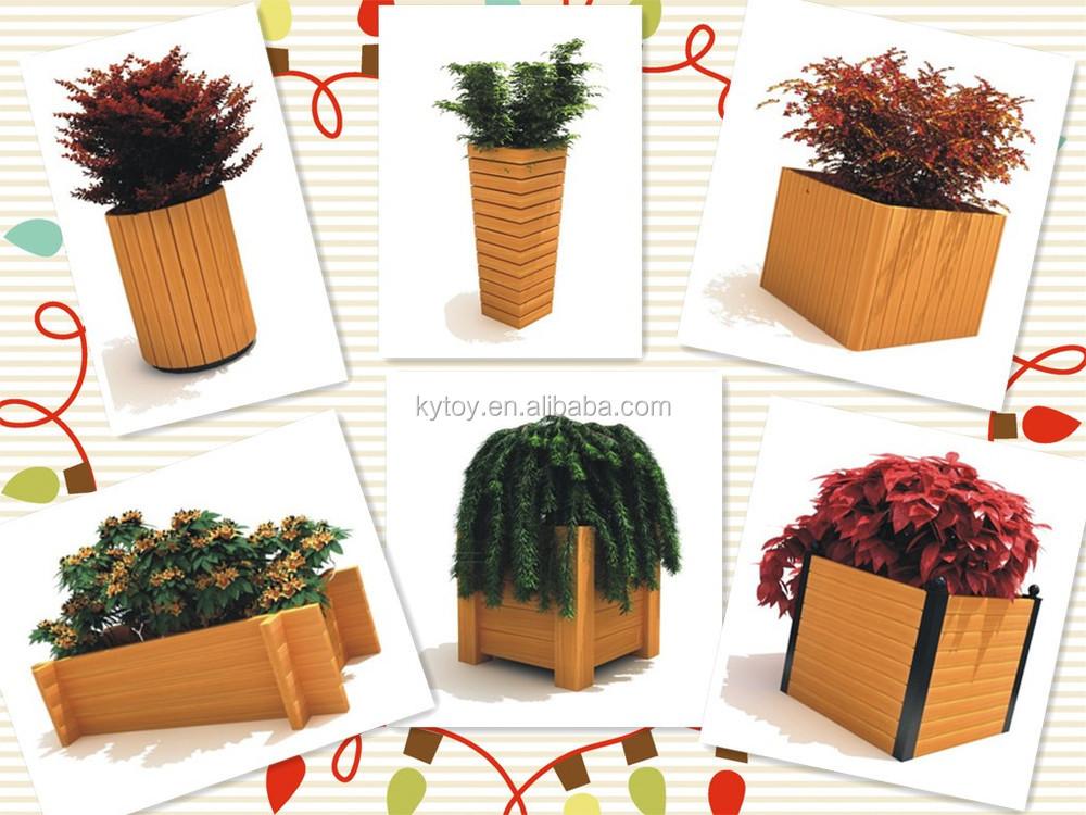 New Design Outdoor Wooden Barrel Flower Pot For Decoration