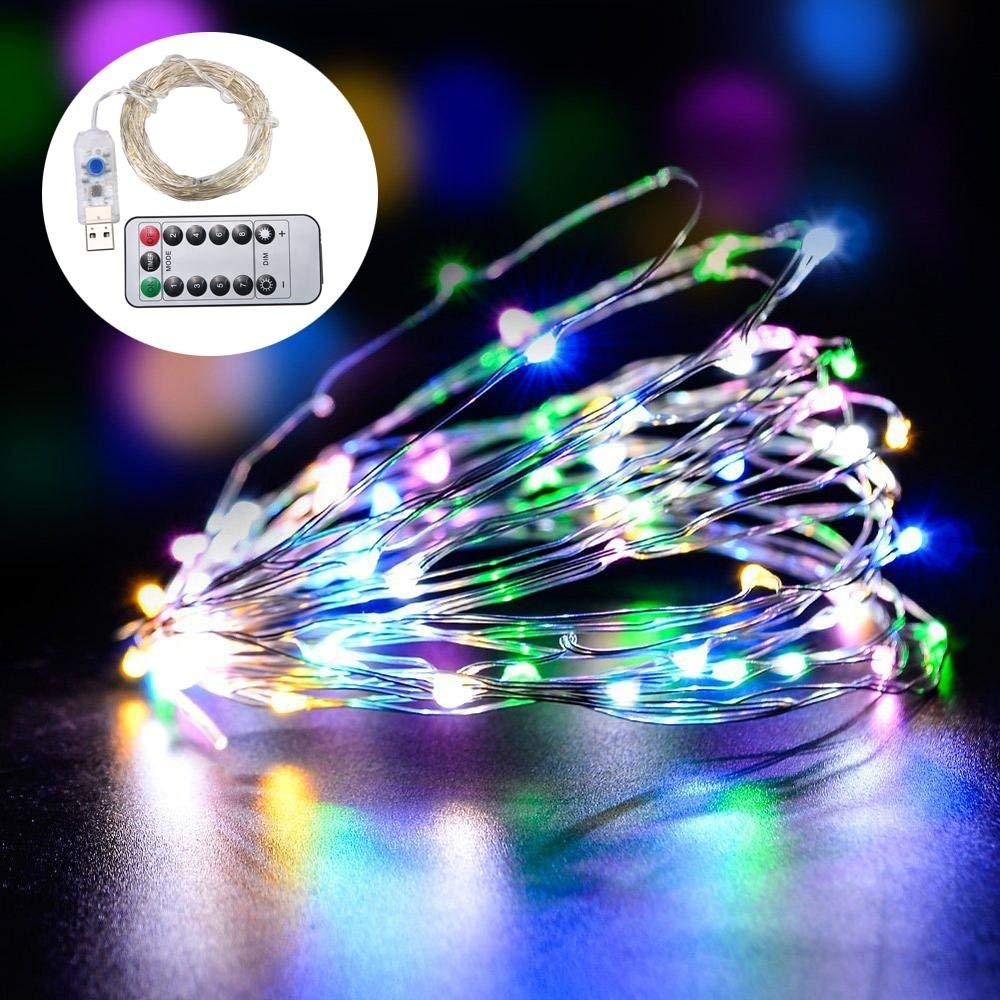 KOBWA LED String Lights, 33ft 100 LED Waterproof Decorative Lights Dimmable,8 Modes LED String Lights USB Plug in Fairy String Lights, with Remote Control for Bedroom, Patio, Party - Warm White