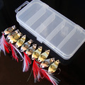 NEW Hot selling Fishing Lure Feather Treble Hook Metal spoon Spinner Baits Fishing Tackle