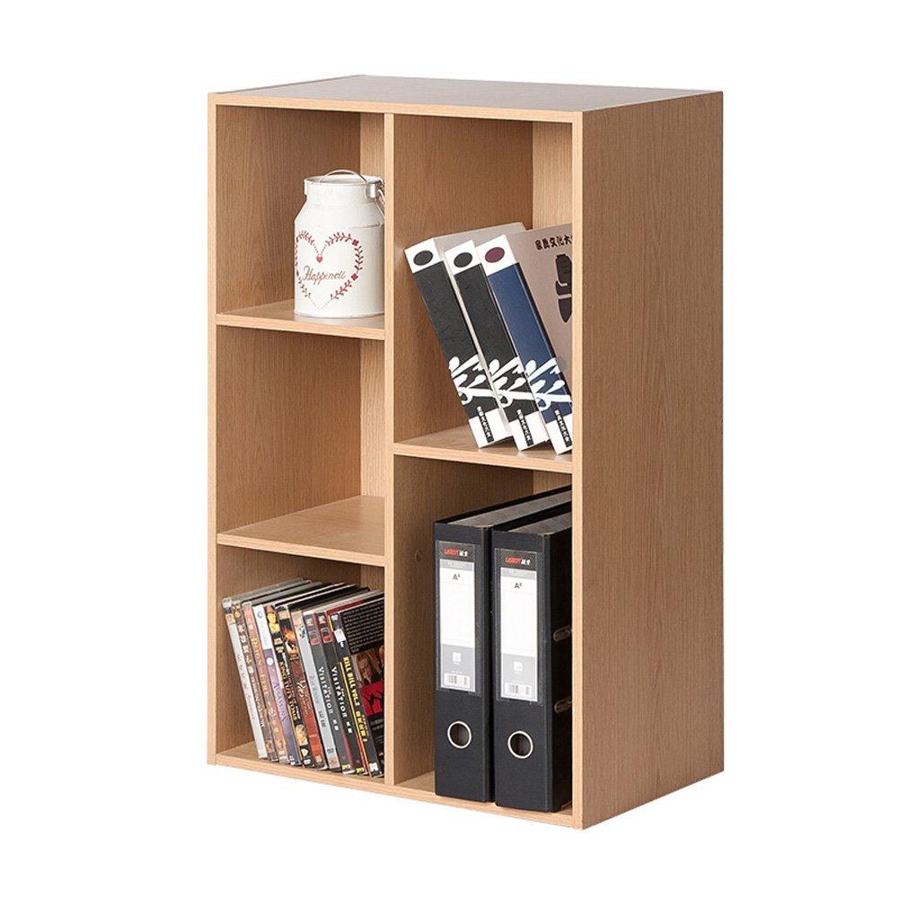 LQQGXL Storage and organization Bookcase Wooden Square 5 Compartment Cabinet Bedroom Bookcase Maple Size 80 23.8 50cm