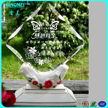 New Design Crystal Acrylic Award Trophies With White Base For Thanksgiving Day Gift