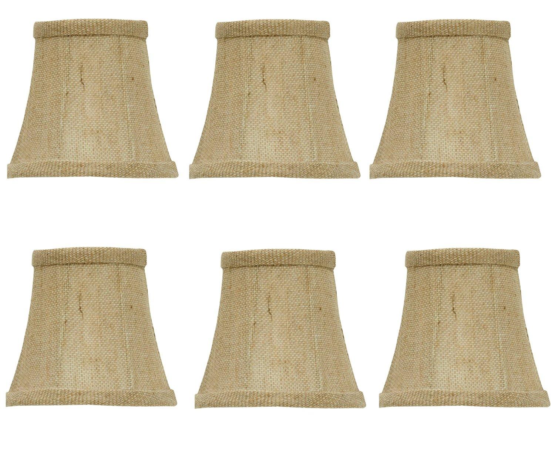 Upgradelights Set Of 6 Chandelier Lamp Shades 5 Inch Sand Belgium Linen Barrel Drum Ui 18