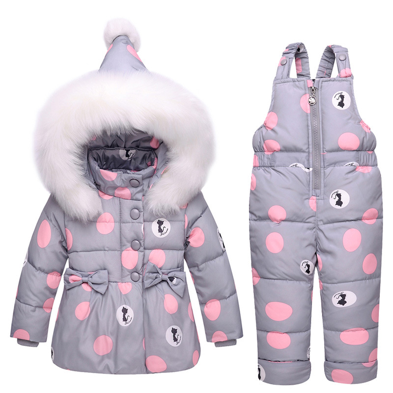 Winter Baby Girls Clothes Sets Children Down Jackets Kids Snowsuit Warm Baby Ski Suit Down Outerwear Coat+Pants