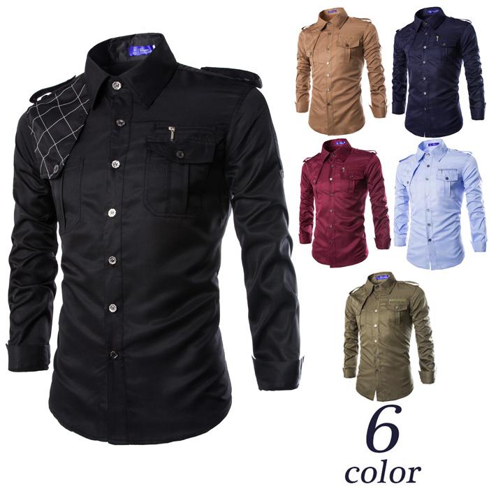 Get Quotations · New autumn men military shirt long sleeve army slim fit  dress shirts camisas masculinas social BC91 2c271351fba6