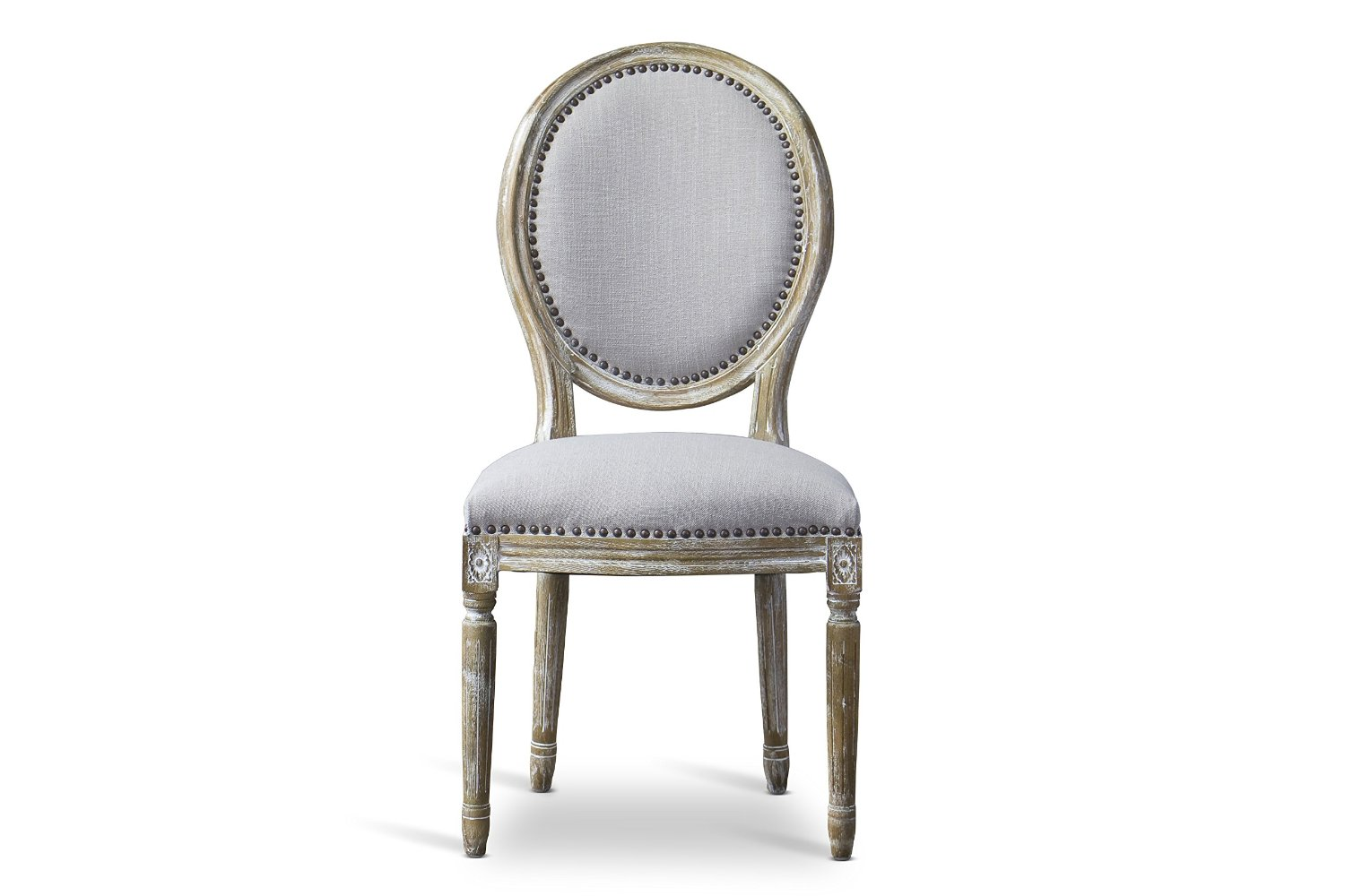 Get Quotations · Baxton Studio Clairette Beige Linen French Style Natural  Oak Wood Accent Chair, Oval Back