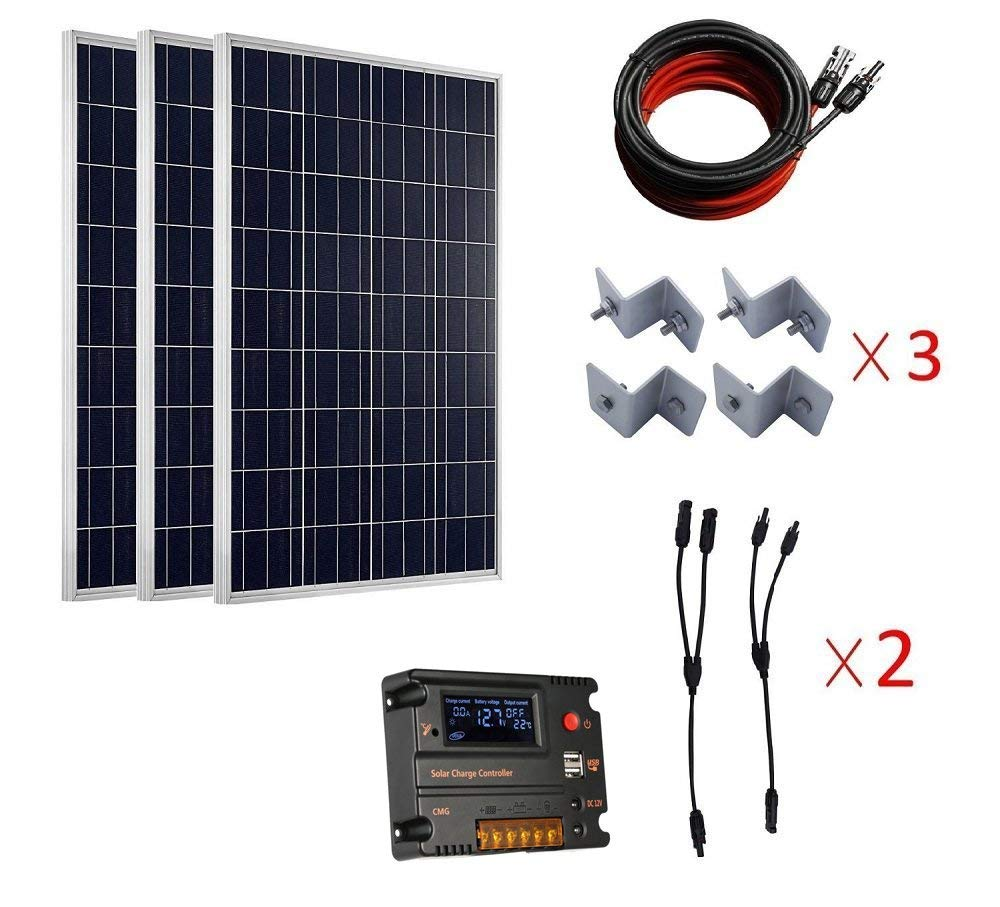 300 Watt Poly Solar Panel Kits:3pcs 100w Polycrystalline Solar Panels,3 sets of Z Mounting Brackets ,1 set 5m MC4 Solar Cable Adaptor Kit ,1 pc 20A Tempreture Compensation Solar Charge Controller ,2 P