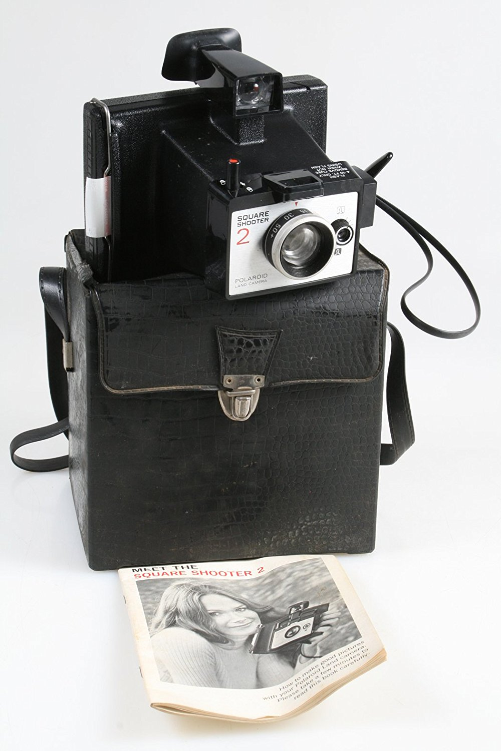 VINTAGE 1970S POLAROID SQUARE SHOOTER 2 WITH ALLIGATOR STYLE CASE