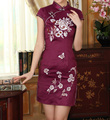 Hot Sale Chinese Women Satin Rayon Dress Traditional Embroidered Qipao Cheongsam Top Flower Size S M
