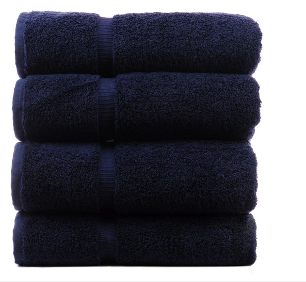 Premium set of navy blue bath towels 100 % cotton terry luxury hotel