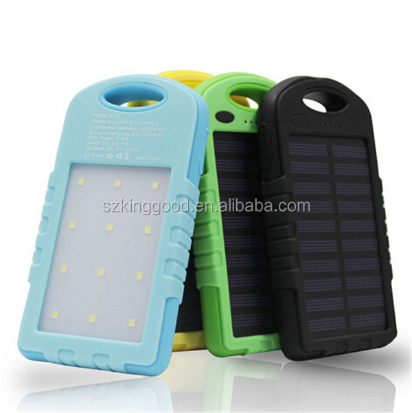 Power Bank 5000mAh Portable Solar Powerbank Mobile Phone Battery Charger Pack with LED Light