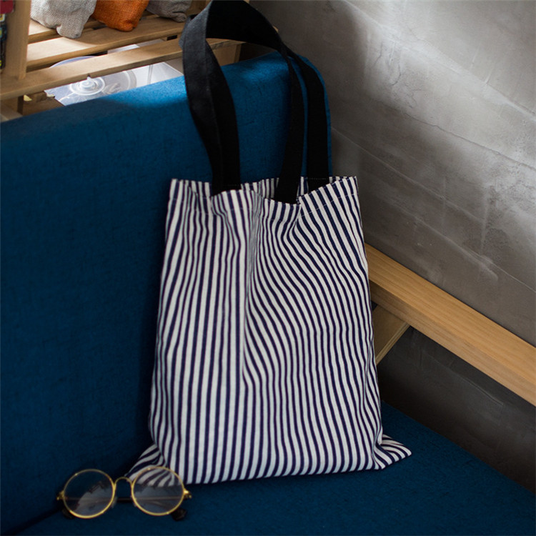 wholesale stripe <strong>eco</strong> friendly simple shoulder bag recycled tote bag