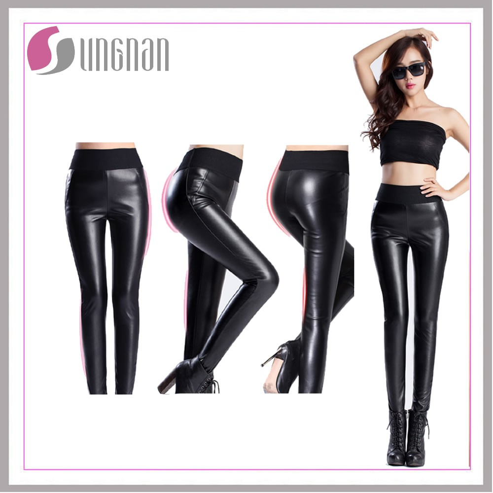 Walson instyles wholesale Womens Comfortable High Waist Stretch Leggings Faux Leather Slim Pants
