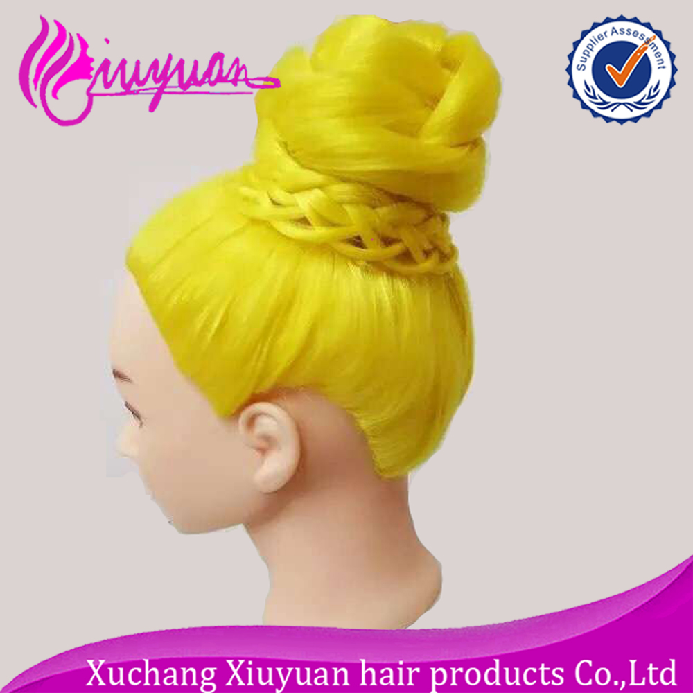Female Salon head mannequin cheap training head with yellow synthetic hair for hairdressers