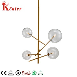 Hot selling 4 lights brass metal luxury bubbles clear glass ball pendant light chandelier