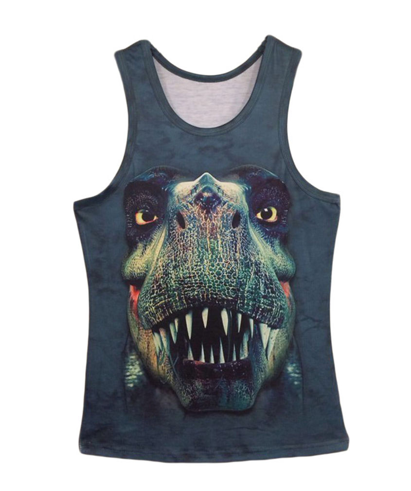 Professional for Men Women 3D Dinosaur Vest Hip Hop Animal Big Face Tank Top Unisex Muscle Sleeveless Custom Tank T Shirt