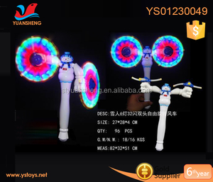 2018 Led toys for kids B/O winnower sipnner toys have double arovance promotional snowman spin windmill