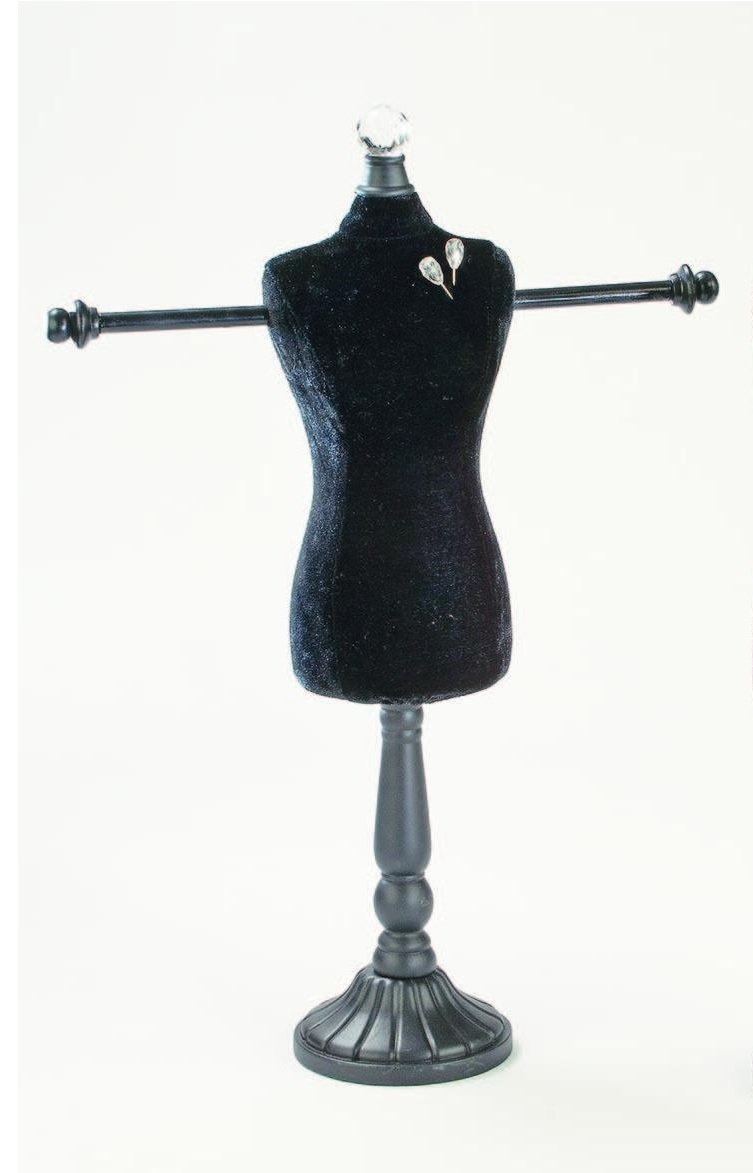 Black Linen Styrofoam Body Form with Arms Jewelry Display Stand Retail Home
