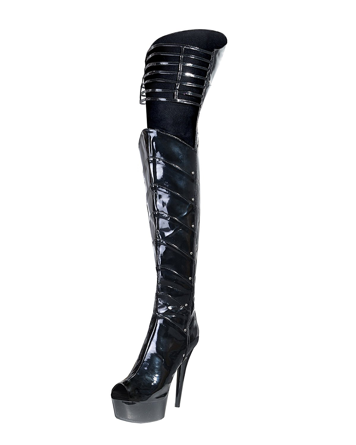 f70acaabd4a4c Get Quotations · Summitfashions 6 Inch Sexy Boots Black Thigh High Boots  Layered Panels Dominatrix Boots