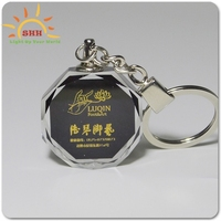 Personalized Custom LED Laser Engraved Etched Crystal Glass Keychain Key Rings for Gifts (LED Blue-Heart)