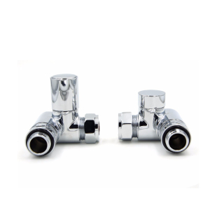 UK 1/2 15mm Corner Dual Fuel Set Chrome Radiator Valves Towel Rail heating element Lockshield