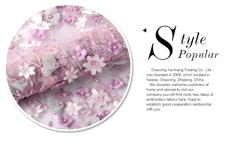 Hot sale high-end mesh beaded 3d flower lace embroidered fabric for lady dresses