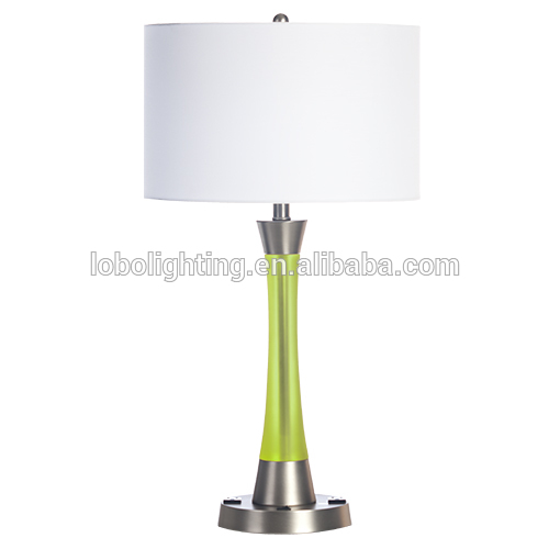 Crystal Clear candeeiro de mesa com sombra tecido branco hotel table desk lamp