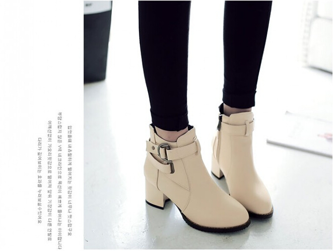 2015 autumn/winter boots fashion boots women thick with martin boots simple joker zipper shoes boots in large size women boots