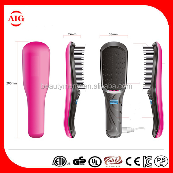 Professional Negative Ion Hair anion Comb LCD Display Electric Mini Hair Straightener Brush