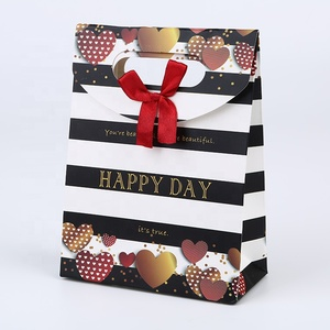 Funny printed promotion fashion colored gifts use halloween shopping paper bag with bow-knot handle