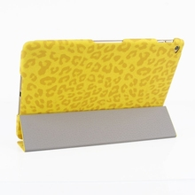 3-folding Ultra-thin Leopard Pattern Smart Cover Leather Case with Holder & Sleep Function for iPad Air 2