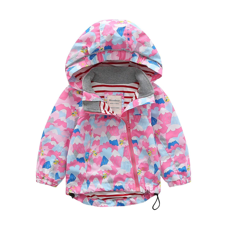 Meanbear Boys /& Girls Hooded Cotton Lined Jacket Childrens Outdoor Light Windbreaker Kids Rain Jacket Dog Printed