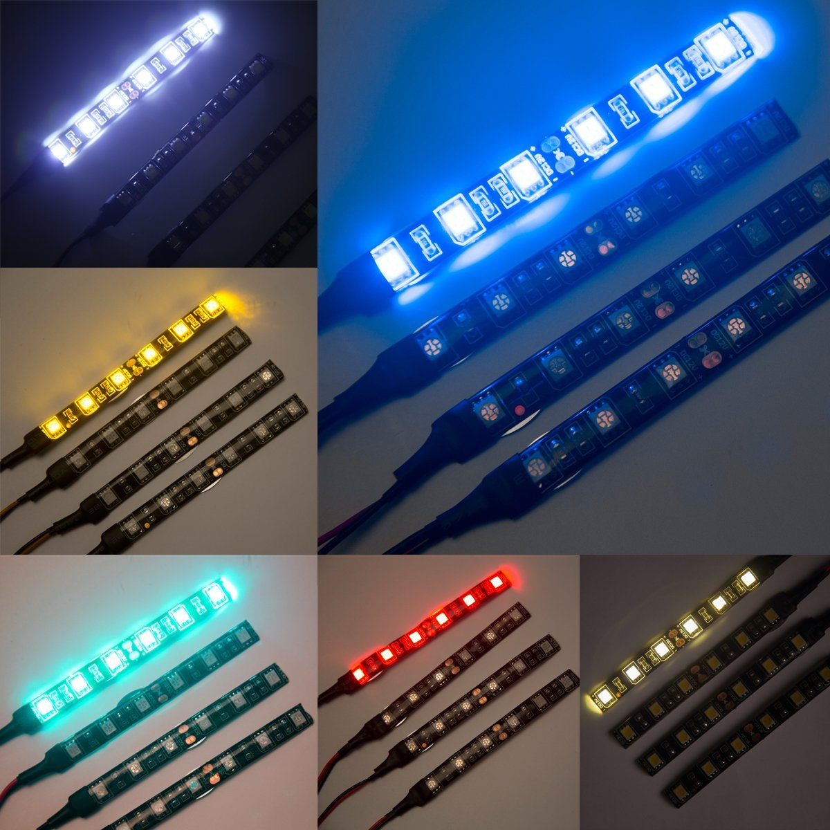 WOWLED 4 x 10cm Red Decoration LED Light Strip for Home Car Motocycle Indoor Outdoor Lighting 5050 LED 12V