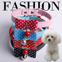 PU leather Collars Bow Tie Pet Puppy Dog Cat Collars Wholesale & Retail, Dropshipping