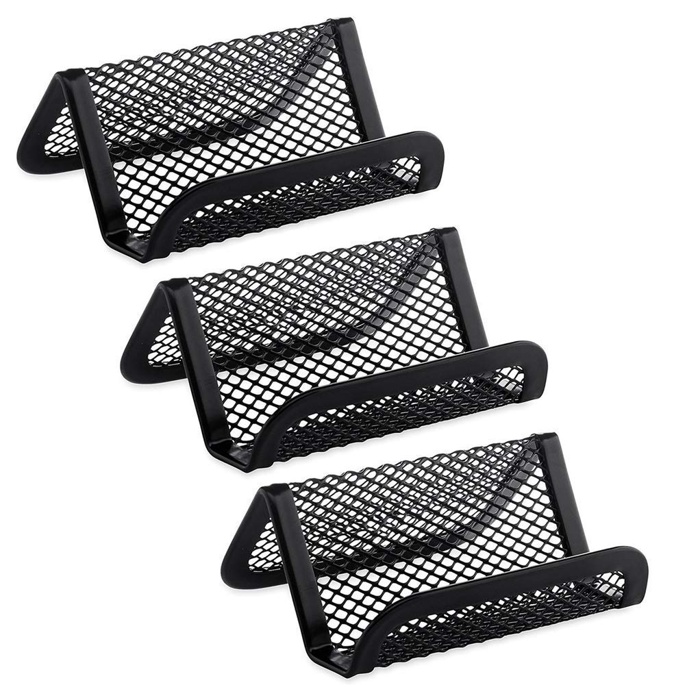 HLW Pack of 3 Metal Mesh Business Card Holder for Desk Office Business Card Holders Mesh Collection Organizer for Name Card, Capacity 50 Cards