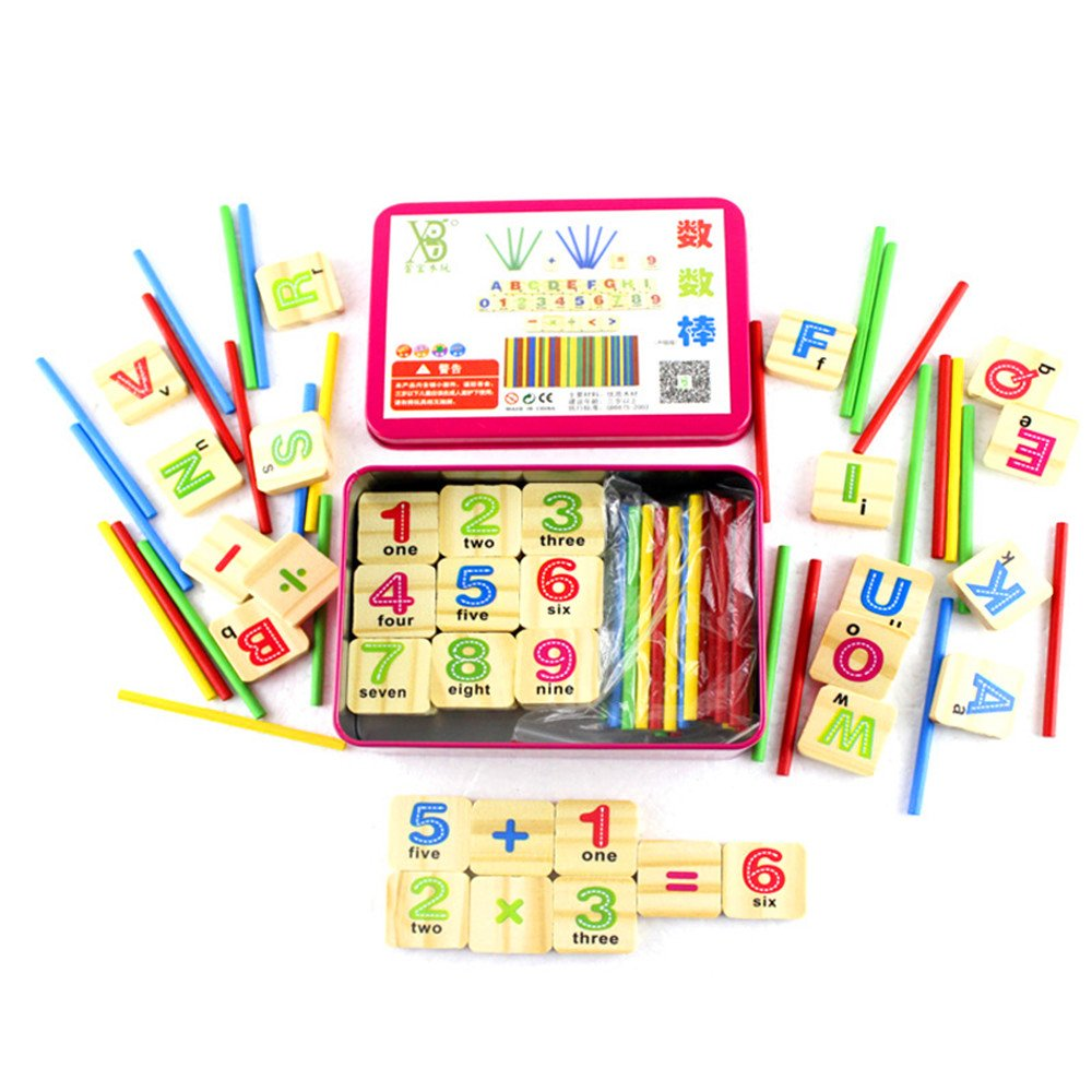 Zerowin Wooden Montessori Toys Number Cards and Counting Rods Teaching Aids Math Sticks with Iron Box, Small 4.9inches