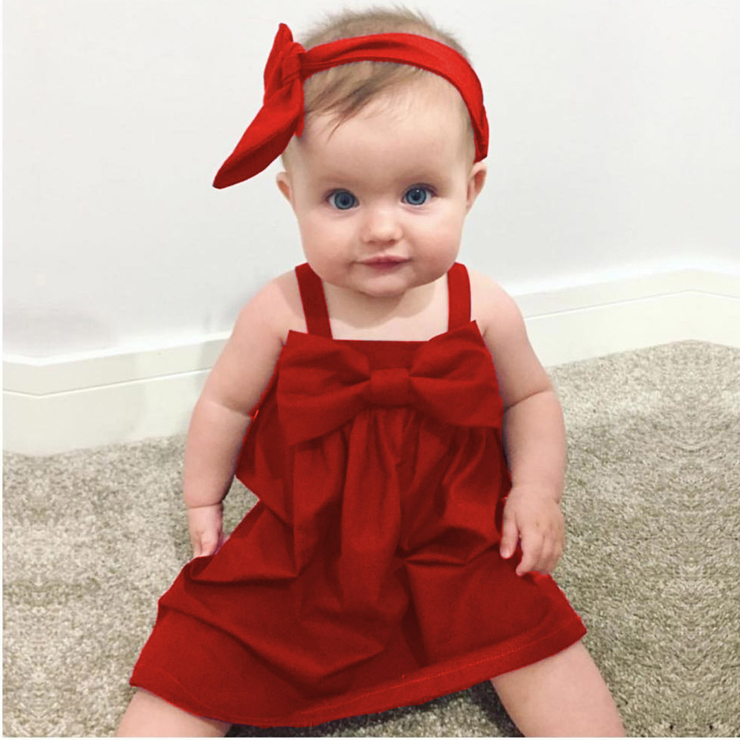 66c4aa6cf0d49 Baby Girls Dresses clothes Kid Summer Sleeveless Sundress Bowknot Short  Mini Vest Red Yellow Dress Outfit
