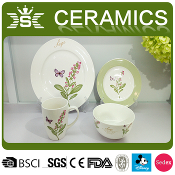 Simple Modern Four Pieces Ceramic Patterned Flower Dinnerware Sets Interesting Patterned Dinnerware Sets