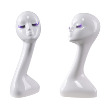 White fiberglass decorative long neck display beauty girl women eyelash mannequin head abstract for eyelash