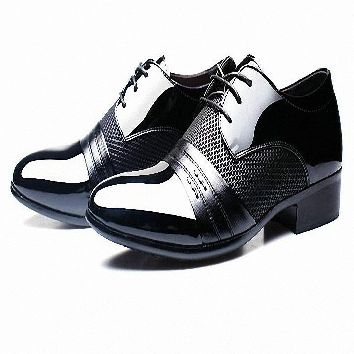 951c8d951be4 Get Quotations · Baolustre Working Office Shoes Mens Patent Leather Shoes  Business Wedding Shoes Lace up Pointed Toe Flat