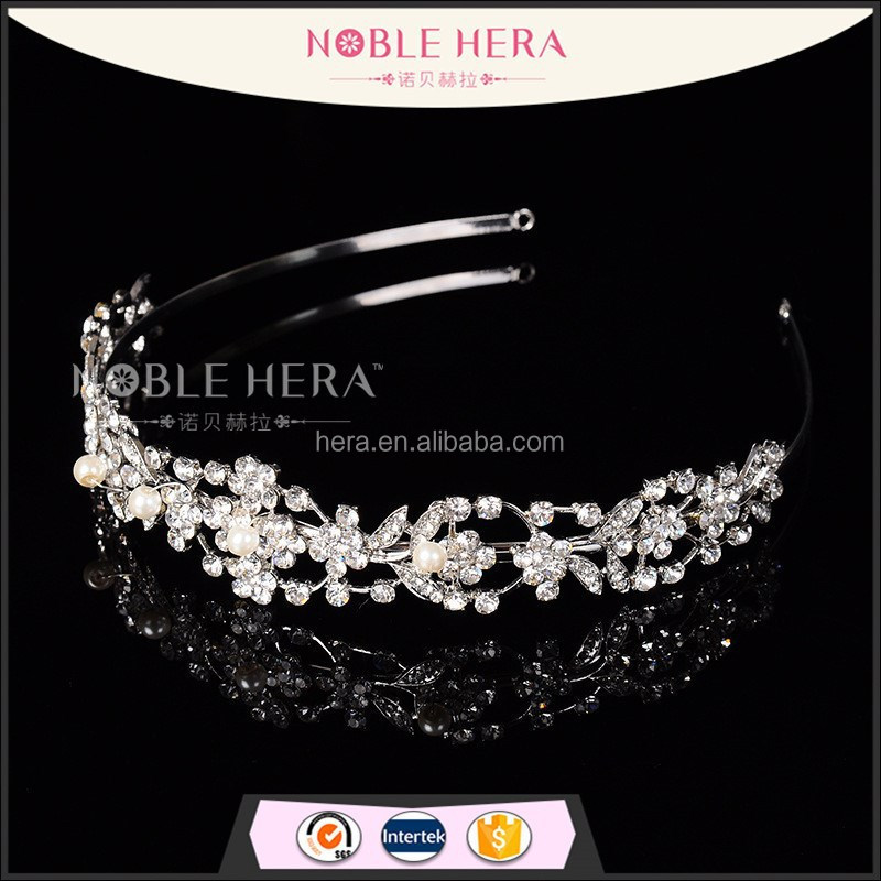 Luxury crystal rhinestone flower bridal headband tiara <strong>crown</strong>