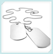 Custom free engraved high finish stainless steel wholesale military tag necklace with ball chain