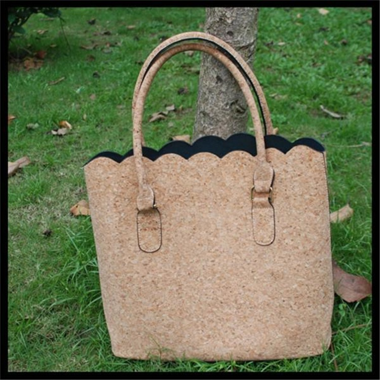 Personalized Stylish PU leather Cork Women Scalloped <strong>Totes</strong>
