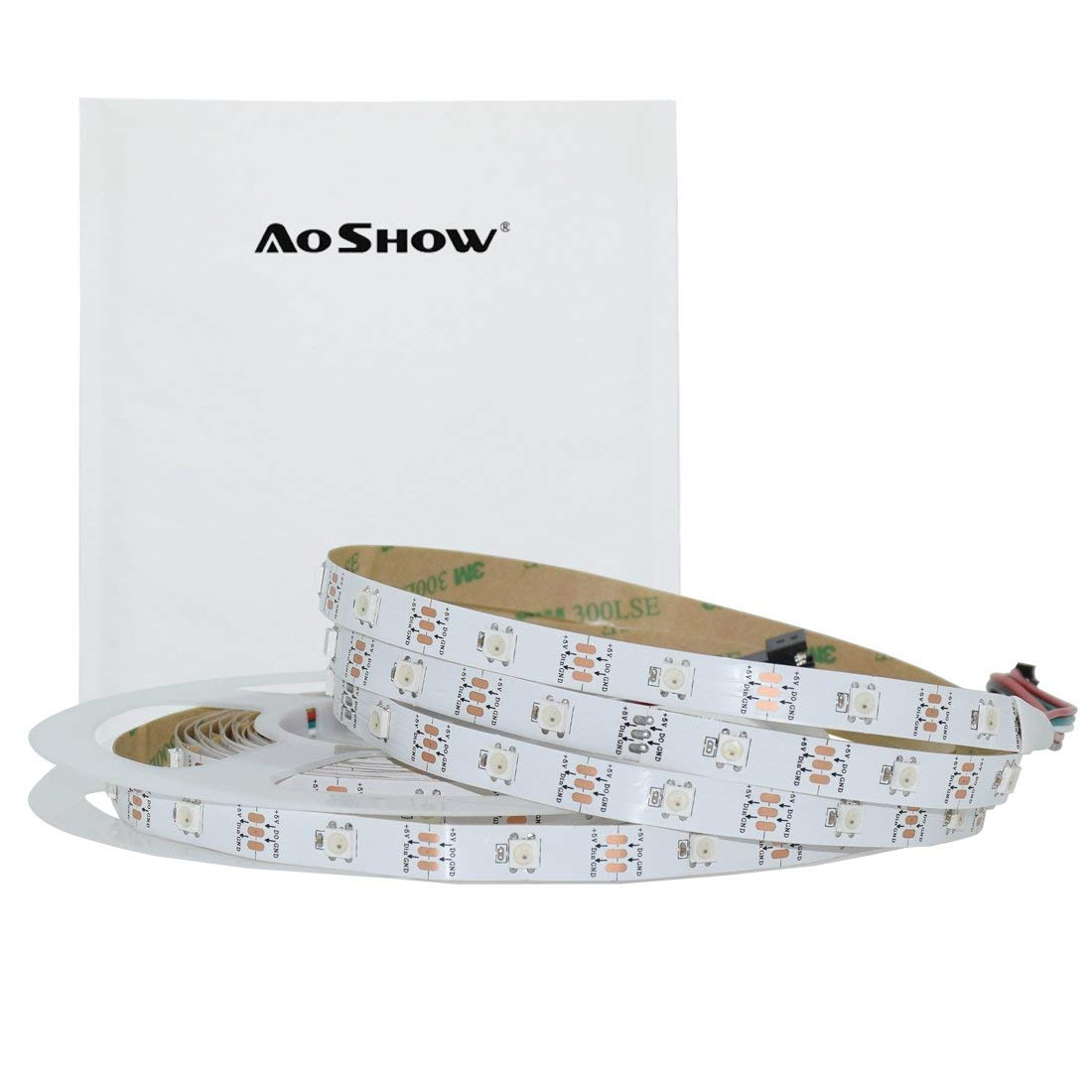 Aoshow DMX LED Strip Light, 30Pixels/M, Magic Color WS2812B IC built in RGB Chip, 16.4FT 150LEDs 5M Indoor LED Lighting Strip with 3M adhesive,LED Digital Display Light Non-waterproof IP20 (White PCB)