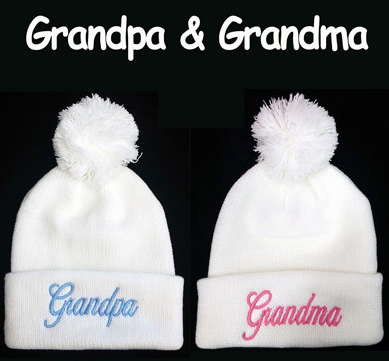 ***Grandma & Grandpa*** Pom Pom Beanie Set Hats Souvenier Gift Unique -White