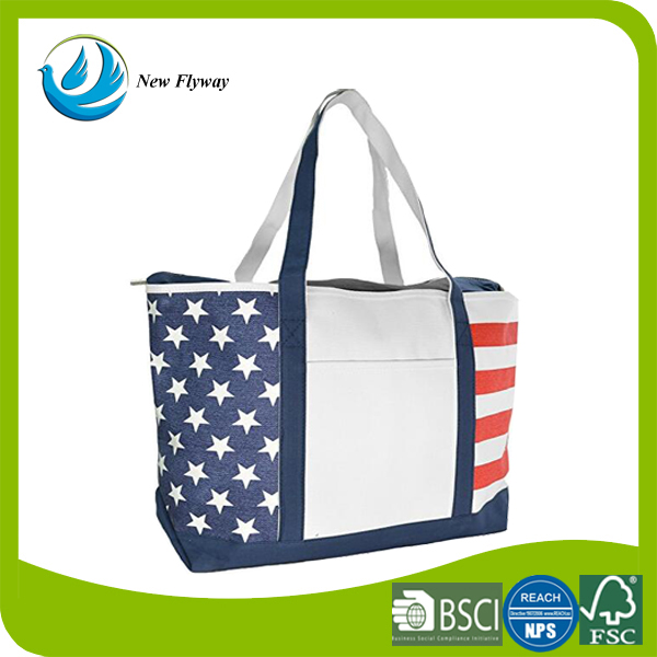 Personalized Economic Folding Extra Large Design Cotton Canvas Cloth Fabric Recycle Tote Navy Blue Red Stripe Shopping Bag