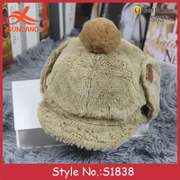 S1838 new wholesale faux wool winter hats with pom poms button baseball caps with ear flaps