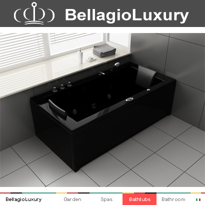 1800 Bathtub Hydromassage,2 Person Hot Tub Spa,Black Bathtubs For ...