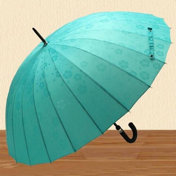 Лучшие продажи зонтик 24 ребра сплошной ветрозащитный прямо ручкой солнечный и дождливый зонтик мода открытый руководство зонты зонтик
