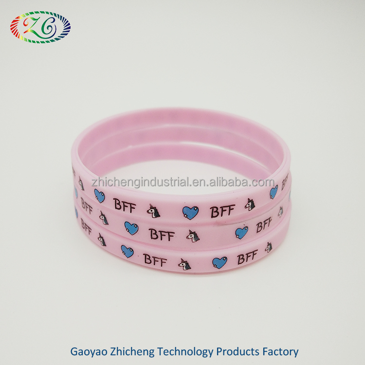 1/4 inch silicone wristband/ custom narrow silicone bracelet/slim silicone rubber band